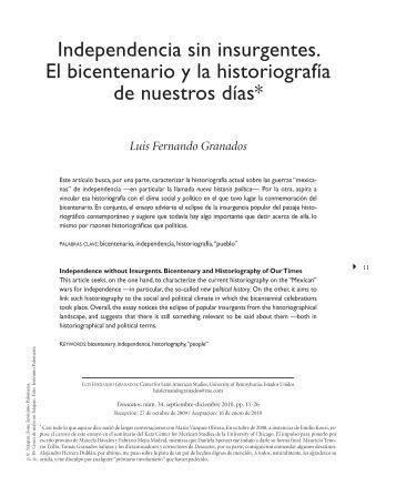 Independencia sin insurgentes. El bicentenario y la ... - SciELO