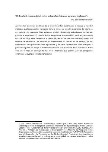 """""""El desafío de la complejidad: redes, cartografías dinámicas y ..."""