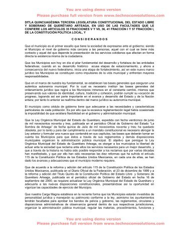 Ley Orgánica Municipal - LVII Legislatura del Estado de Querétaro