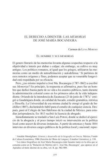 el derecho a disentir: las memorias de josé maría bocanegra - UNAM