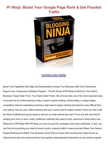 Pr Ninja: Boost Your Google Page Rank & Get Flooded Traffic