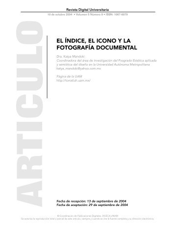 el índice, el icono y la fotografía documental - Revista Digital ...