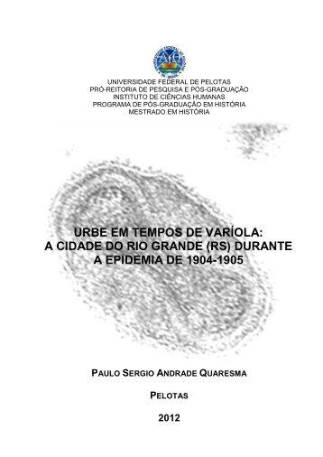 urbe em tempos de varíola: a cidade do rio grande - Instituto de ...