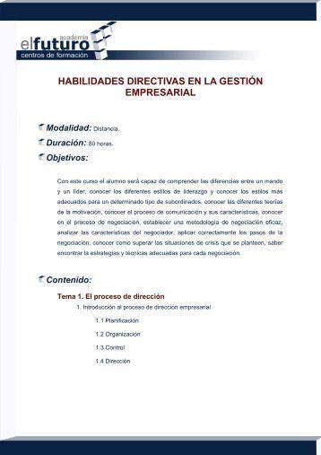 Habilidades Directivas en el Entorno Empresarial - Academia el ...