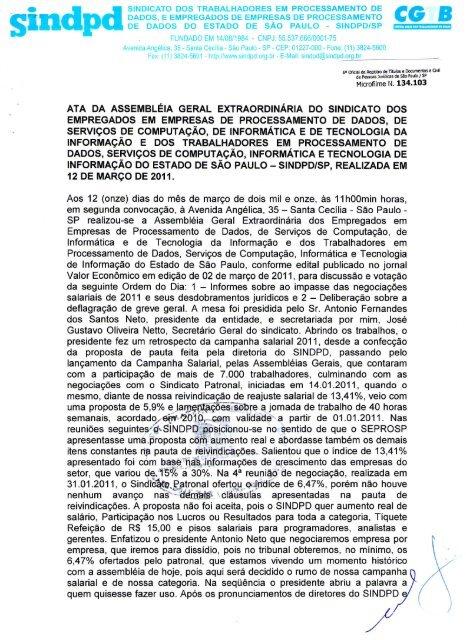 ATA DA ASSEMBLEIA GERAL EXTRAORDINÁRIA DO ... - Sindpd