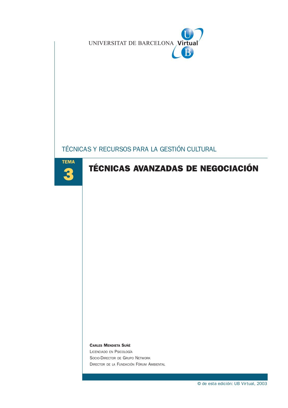 TÉCNICAS AVANZADAS DE NEGOCIACIÓN