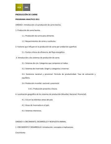 PRODUCCIÓN DE CARNE - Facultad de Ciencias Agrarias