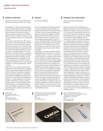 libros y revistas recibidos espacio continuo uruguay/012 ... - SciELO