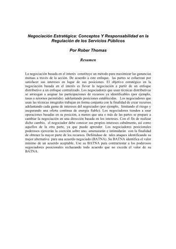 Negociación Estartégica: Conceptos Y Responsabilidad en las ...