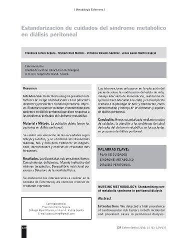 Estandarización de cuidados del síndrome ... - SciELO España