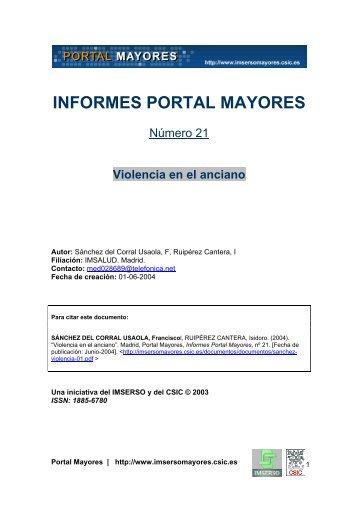 Violencia en el anciano - Portal Mayores - CSIC