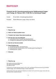 Protokoll der 86. Generalversammlung 2012 - Raiffeisen