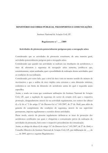 Regulamento Pirotecnia - Instituto Nacional de Aviação Civil