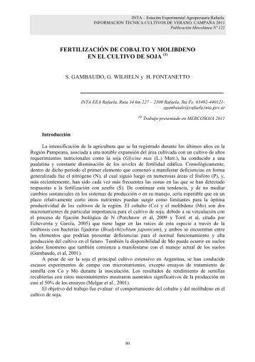 Fertilización de cobalto y molibdeno en el cultivo de soja.pdf - INTA