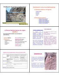 a) Rocas Sedimentarias de origen detrítico ARENISCAS