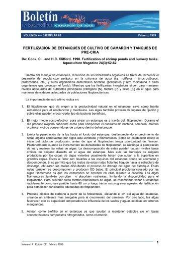 Fertilización de estanques de cultivo de camarón y - Nicovita