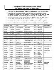 Kirchenmusik in Wiesloch 2013 Sammelterminplan
