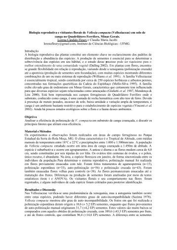 Biologia reprodutiva e visitantes florais de Vellozia compacta ...