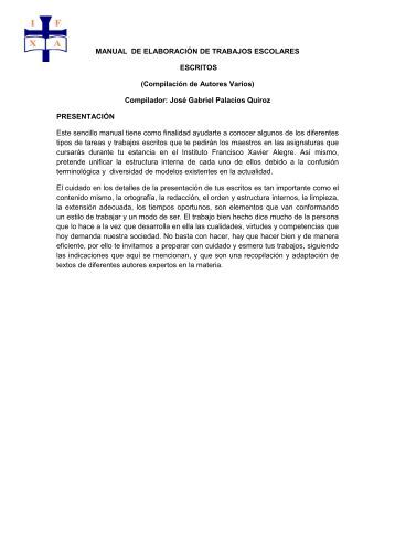 MANUAL DE ELABORACIÓN DE TRABAJOS ESCOLARES ... - IFXA