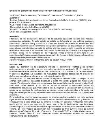 efectos del bionutriente fitomas-e con y sin fertilización convencional