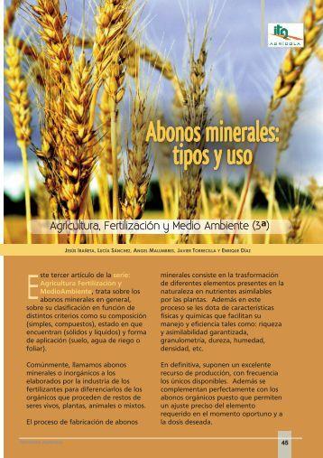 Abonos minerales: tipos y uso - Navarra Agraria