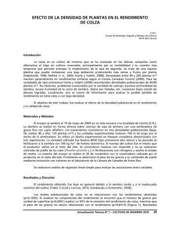 EFECTO DE LA DENSIDAD DE PLANTAS EN EL ... - INTA