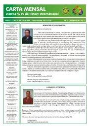 Carta Mensal do Governador, nº 9 – Março 2012 - Rotary Distrito 4750