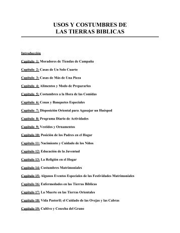 USOS Y COSTUMBRES DE LAS TIERRAS BIBLICAS