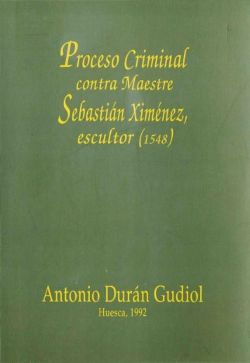 Proceso Criminal contra Maestre Sebastián Ximénez, escultor