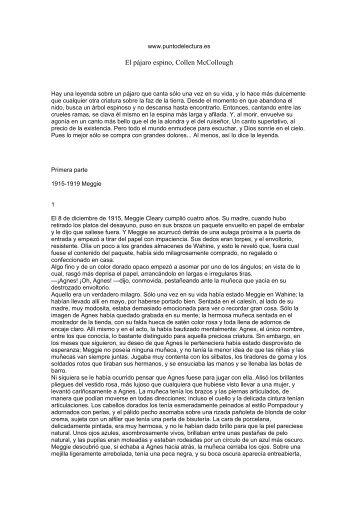 Primeras páginas de 'El pájaro espino' - Prisa Ediciones