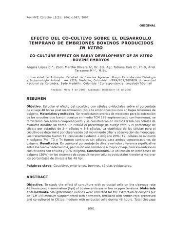 Efecto del co-cultivo sobre el desarrollo temprano de embriones ...
