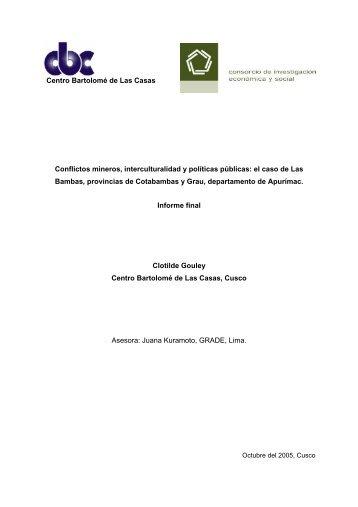 Conflictos mineros, interculturalidad y políticas públicas: el caso de ...