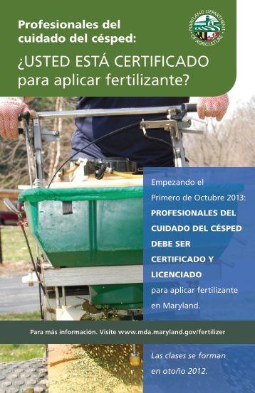 ¿UstEd Está cErtificadO para aplicar fertilizante? - Maryland ...
