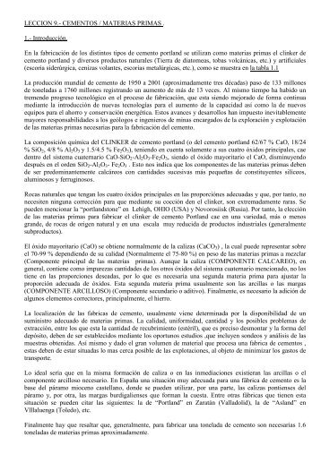 LECCION 9.- CEMENTOS / MATERIAS PRIMAS . 1 ... - Página Antigua