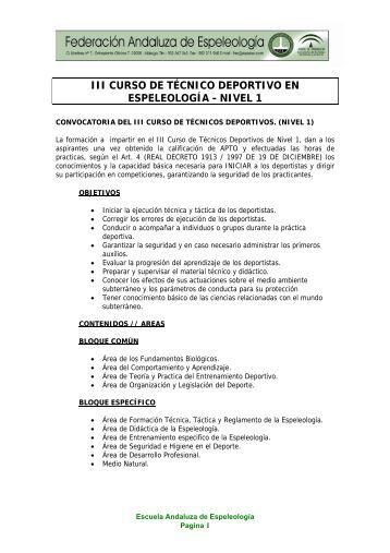 iii curso de técnico deportivo en espeleología - nivel 1 - Federacion ...
