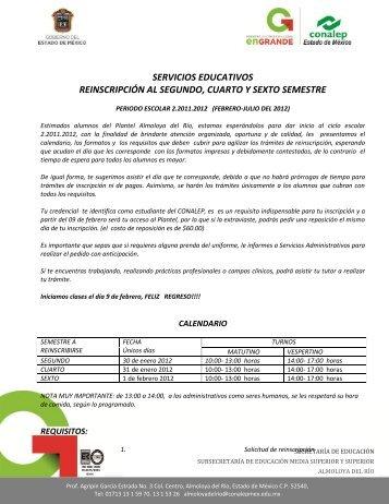 Informes Reinscripción - Escolares Conalep Almoloya del Río