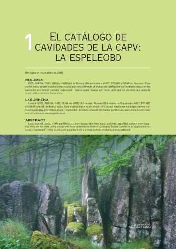 El catálogo de cavidades de la capv: la espeleobd