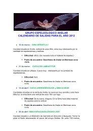 GRUPO ESPELEOLOGICO AKELAR CALENDARIO DE SALIDAS ...