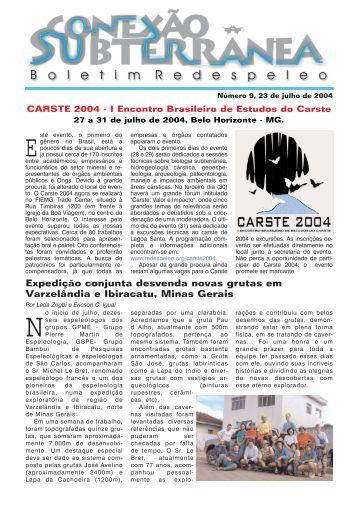 Conexão Subterrânea nº 9 - Redespeleo Brasil