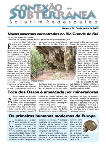 Conexão Subterrânea nº 22 - Redespeleo Brasil