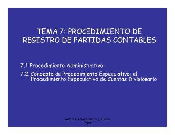 TEMA 7: PROCEDIMIENTO DE REGISTRO DE PARTIDAS CONTABLES