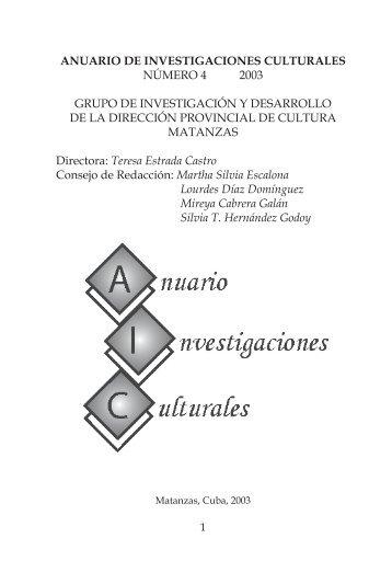 ANUARIO DE INVESTIGACIONES CULTURALES ... - Atenas