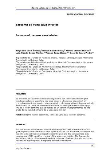 Sarcoma de vena cava inferior - SciELO - Infomed
