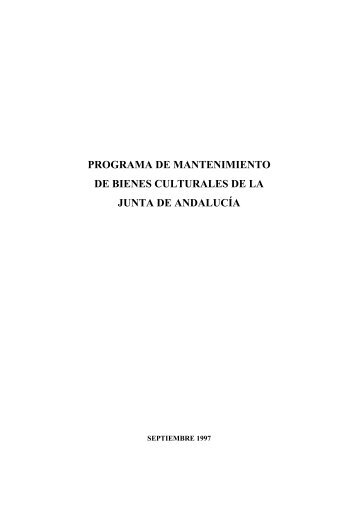 Programa de mantenimiento - Junta de Andalucía