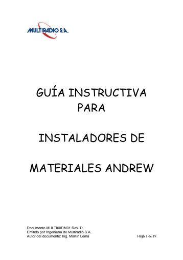 guía instructiva para instaladores de materiales andrew