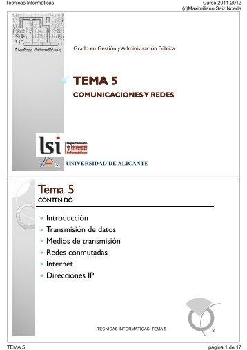 TEMA 5 - RUA - Universidad de Alicante