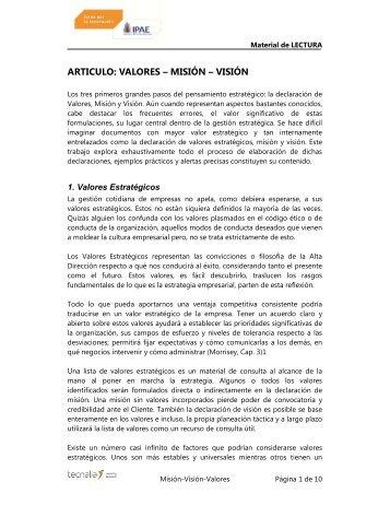 articulo: valores – misión – visión - Centro de Innovación - IPAE