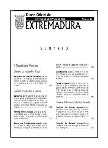 S  U  M  A  R  I  O - Diario Oficial de Extremadura