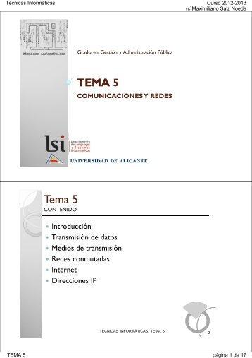 tema 5 comunicaciones y redes - RUA - Universidad de Alicante