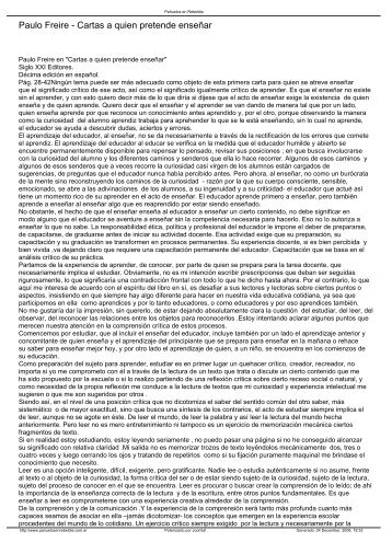 Paulo Freire - Cartas a quien pretende enseñar - cilep